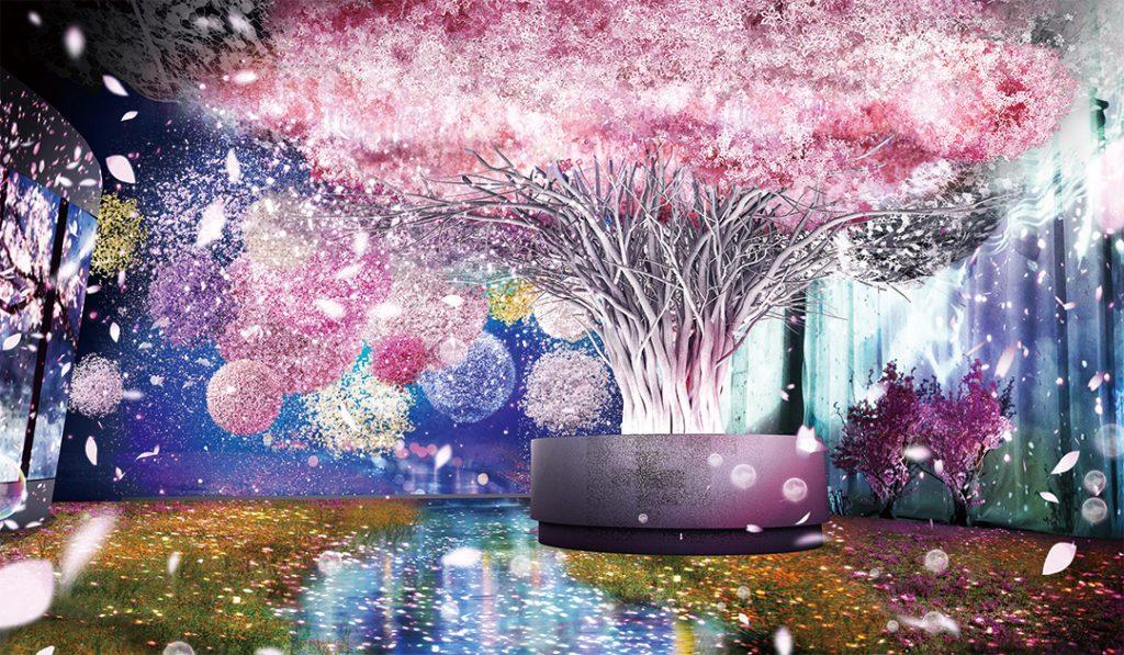 満開の桜の元で、春の香りがする風や音色など、五感で楽しめる日本一早いお花見空間